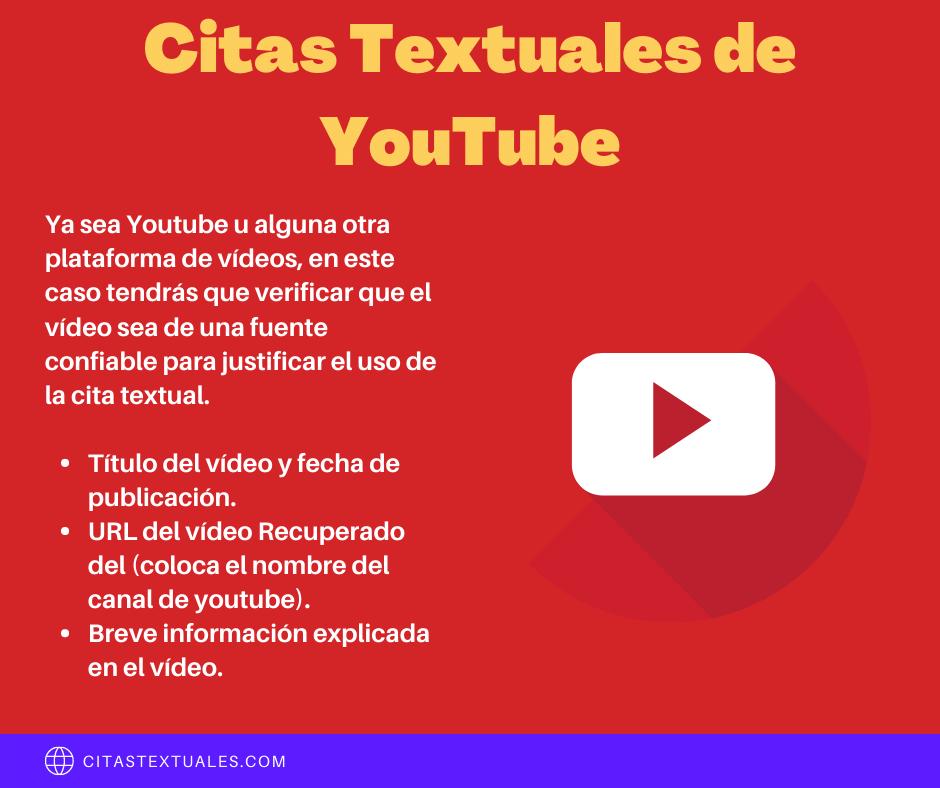 citas textuales de Youtube