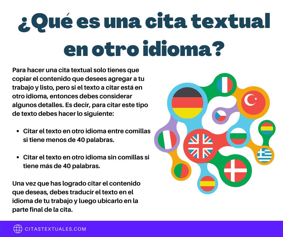 Citas textuales en otro idioma