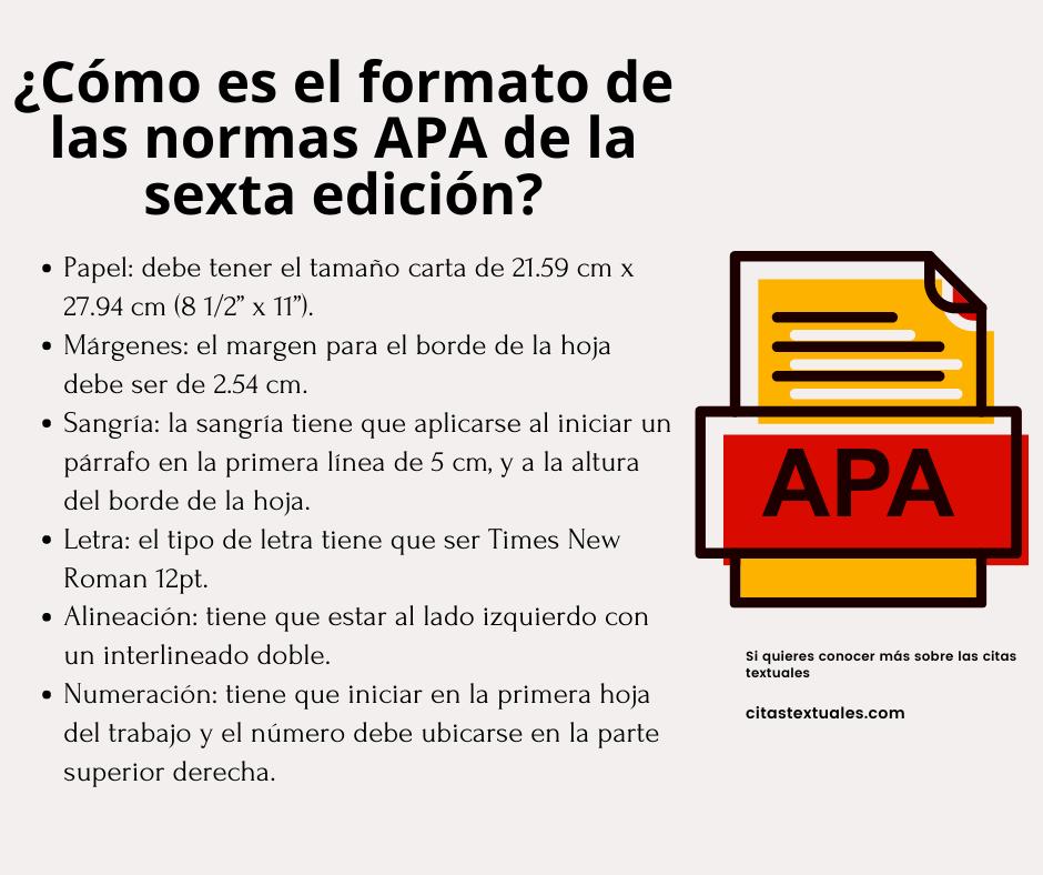 Cómo es el formato de las normas APA de la sexta edición